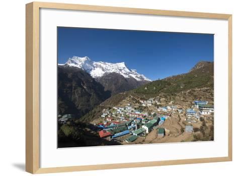 Namche, the Main Trading Centre and Tourist Hub for the Khumbu (Everest Region) with Kongde Ri Peak-Alex Treadway-Framed Art Print