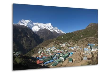 Namche, the Main Trading Centre and Tourist Hub for the Khumbu (Everest Region) with Kongde Ri Peak-Alex Treadway-Metal Print