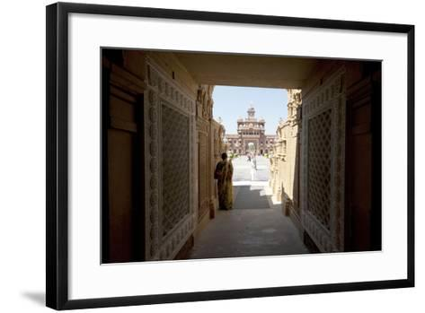 Entrance to the Jain Swaminarayan Temple, Gondal, Gujarat, India, Asia-Annie Owen-Framed Art Print
