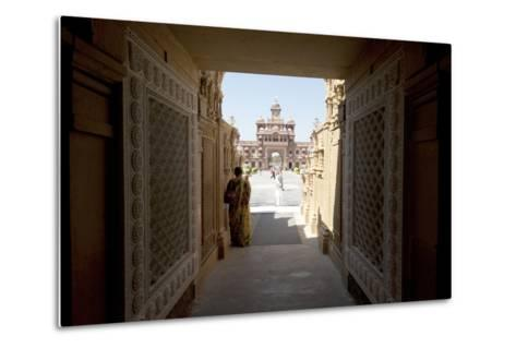 Entrance to the Jain Swaminarayan Temple, Gondal, Gujarat, India, Asia-Annie Owen-Metal Print