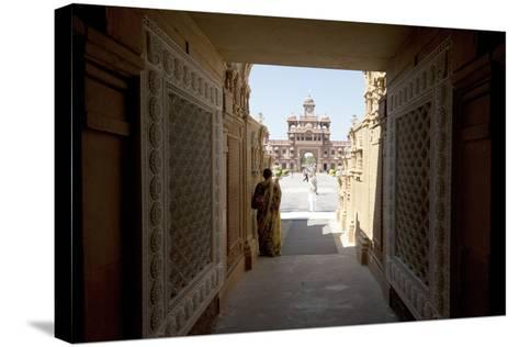 Entrance to the Jain Swaminarayan Temple, Gondal, Gujarat, India, Asia-Annie Owen-Stretched Canvas Print