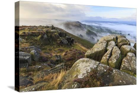 Early Morning Fog, Curbar Edge with View to Baslow Edge, Peak District National Park-Eleanor Scriven-Stretched Canvas Print