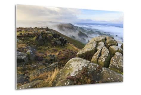 Early Morning Fog, Curbar Edge with View to Baslow Edge, Peak District National Park-Eleanor Scriven-Metal Print