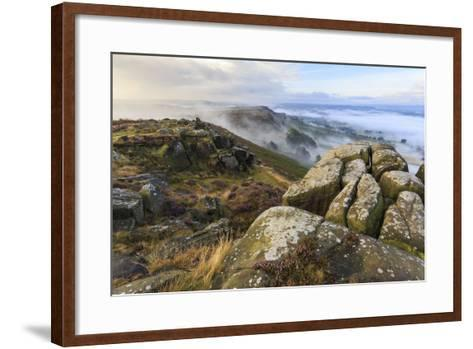Early Morning Fog, Curbar Edge with View to Baslow Edge, Peak District National Park-Eleanor Scriven-Framed Art Print
