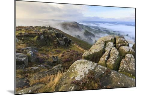 Early Morning Fog, Curbar Edge with View to Baslow Edge, Peak District National Park-Eleanor Scriven-Mounted Photographic Print