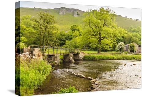 Bridge across River Wye, Stone Farm Buildings, Monsal Dale-Eleanor Scriven-Stretched Canvas Print