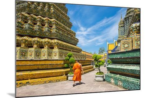 A Monk Walks Past Stupas at Wat Pho (Temple of the Reclining Buddha), Bangkok, Thailand-Jason Langley-Mounted Photographic Print