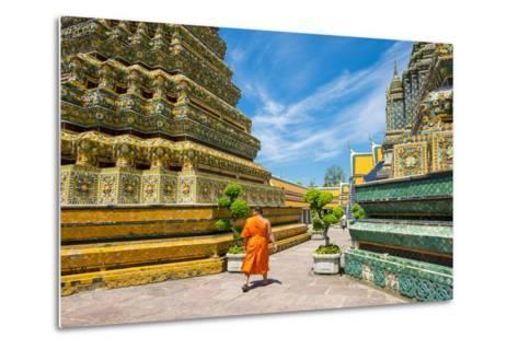 A Monk Walks Past Stupas at Wat Pho (Temple of the Reclining Buddha), Bangkok, Thailand-Jason Langley-Metal Print