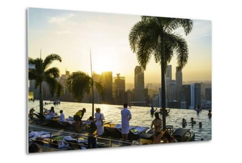 Infinity Pool on Roof of Marina Bay Sands Hotel with Spectacular Views over Singapore Skyline-Fraser Hall-Metal Print