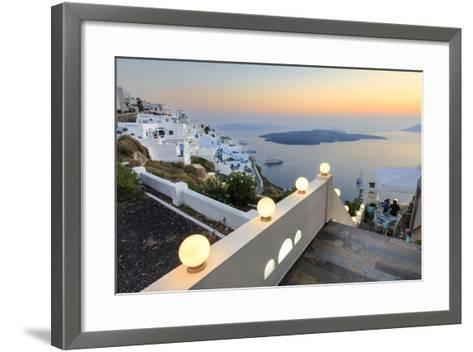 The Fiery Red Sky on the Aegean Sea after Sunset Seen from the Typical Terraces of Firostefani-Roberto Moiola-Framed Art Print