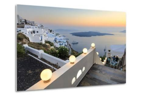 The Fiery Red Sky on the Aegean Sea after Sunset Seen from the Typical Terraces of Firostefani-Roberto Moiola-Metal Print