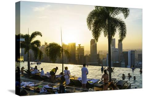 Infinity Pool on Roof of Marina Bay Sands Hotel with Spectacular Views over Singapore Skyline-Fraser Hall-Stretched Canvas Print