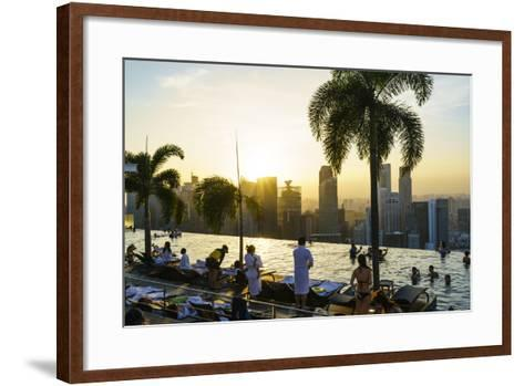 Infinity Pool on Roof of Marina Bay Sands Hotel with Spectacular Views over Singapore Skyline-Fraser Hall-Framed Art Print