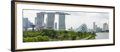 Panoramic View Overlooking the Gardens by the Bay, Marina Bay Sands and City Skyline, Singapore-Fraser Hall-Framed Art Print