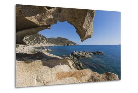 View of the Blue Sea from a Natural Sea Cave of Rocks Shaped by Wind, Punta Molentis, Villasimius-Roberto Moiola-Metal Print