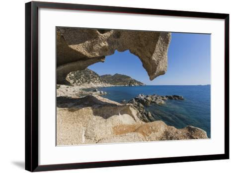 View of the Blue Sea from a Natural Sea Cave of Rocks Shaped by Wind, Punta Molentis, Villasimius-Roberto Moiola-Framed Art Print