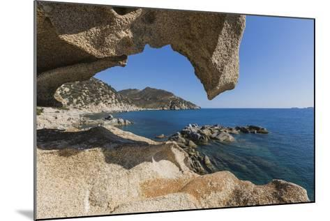 View of the Blue Sea from a Natural Sea Cave of Rocks Shaped by Wind, Punta Molentis, Villasimius-Roberto Moiola-Mounted Photographic Print