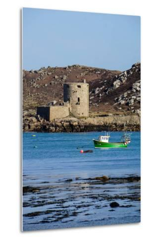 Fishing Boat, Cromwell's Castle on Tresco, Isles of Scilly, England, United Kingdom, Europe-Robert Harding-Metal Print