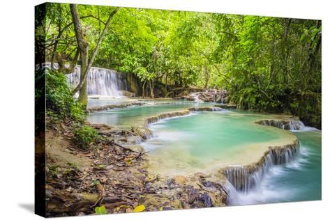 Kuang Si Falls (Tat Kuang Si) Waterfall, Louangphabang Province, Laos, Indochina, Southeast Asia-Jason Langley-Stretched Canvas Print