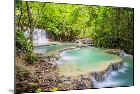 Kuang Si Falls (Tat Kuang Si) Waterfall, Louangphabang Province, Laos, Indochina, Southeast Asia-Jason Langley-Mounted Photographic Print