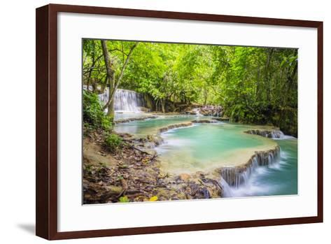 Kuang Si Falls (Tat Kuang Si) Waterfall, Louangphabang Province, Laos, Indochina, Southeast Asia-Jason Langley-Framed Art Print