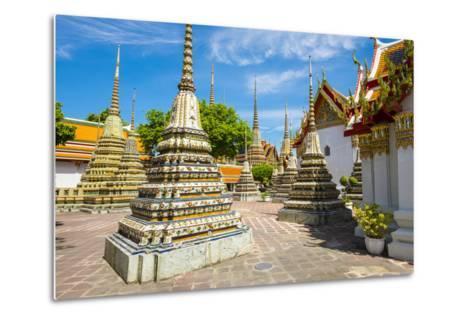 Stupas at Wat Pho (Temple of the Reclining Buddha), Bangkok, Thailand, Southeast Asia, Asia-Jason Langley-Metal Print