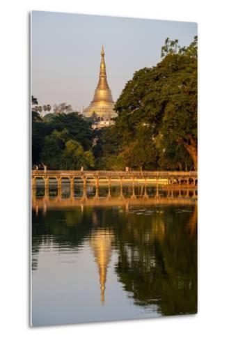 Shwedagon, Kan Daw Gyi Lake and Park, Old City, Yangon (Rangoon), Myanmar (Burma), Asia-Nathalie Cuvelier-Metal Print