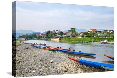 Nam Song River in Vang Vieng, Vientiane Province, Laos, Indochina, Southeast Asia, Asia-Jason Langley-Stretched Canvas Print