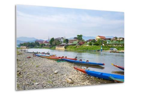 Nam Song River in Vang Vieng, Vientiane Province, Laos, Indochina, Southeast Asia, Asia-Jason Langley-Metal Print