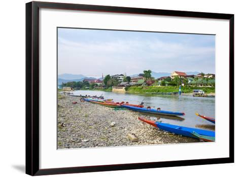 Nam Song River in Vang Vieng, Vientiane Province, Laos, Indochina, Southeast Asia, Asia-Jason Langley-Framed Art Print