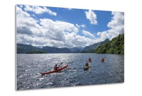 Canoes on Derwentwater, View Towards Borrowdale Valley, Keswick-James Emmerson-Metal Print
