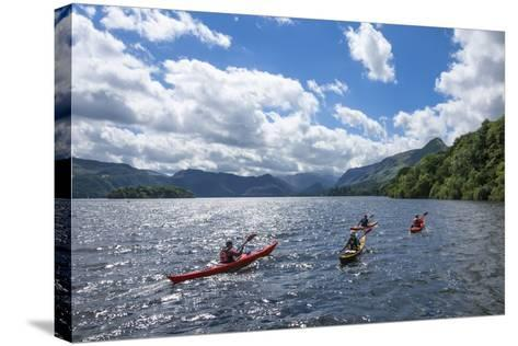Canoes on Derwentwater, View Towards Borrowdale Valley, Keswick-James Emmerson-Stretched Canvas Print