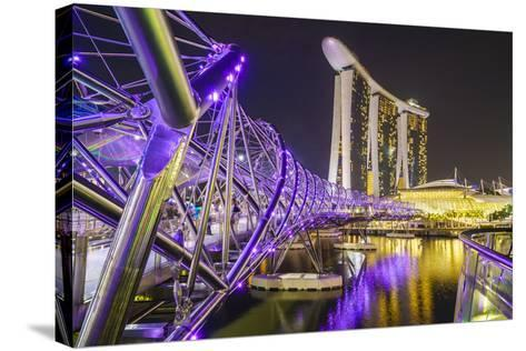 People Strolling on the Helix Bridge Towards the Marina Bay Sands and Artscience Museum at Night-Fraser Hall-Stretched Canvas Print