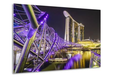 People Strolling on the Helix Bridge Towards the Marina Bay Sands and Artscience Museum at Night-Fraser Hall-Metal Print