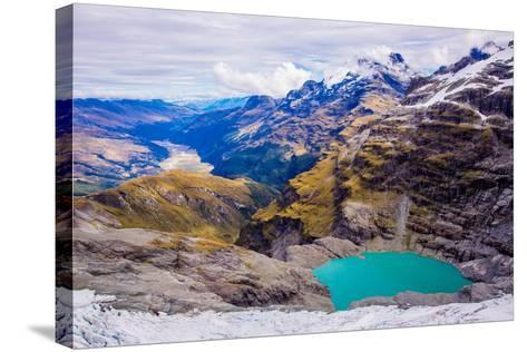Aerial View of Glacier Lakes on Fox Glacier, South Island, New Zealand, Pacific-Laura Grier-Stretched Canvas Print