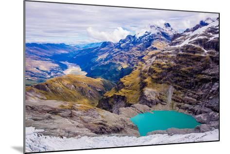 Aerial View of Glacier Lakes on Fox Glacier, South Island, New Zealand, Pacific-Laura Grier-Mounted Photographic Print