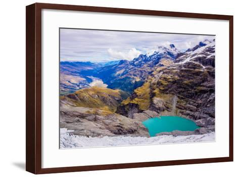 Aerial View of Glacier Lakes on Fox Glacier, South Island, New Zealand, Pacific-Laura Grier-Framed Art Print