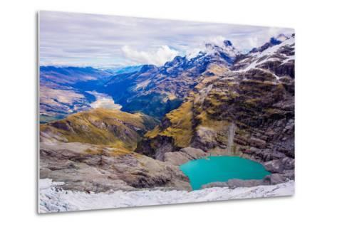 Aerial View of Glacier Lakes on Fox Glacier, South Island, New Zealand, Pacific-Laura Grier-Metal Print