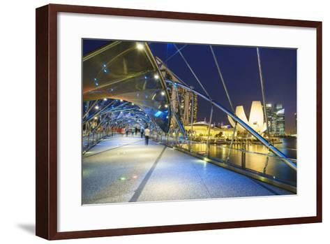 People Strolling on the Helix Bridge Towards the Marina Bay Sands and Artscience Museum at Night-Fraser Hall-Framed Art Print