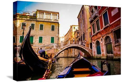 Floating on a Gondola, Venice, UNESCO World Heritage Site, Veneto, Italy, Europe-Laura Grier-Stretched Canvas Print
