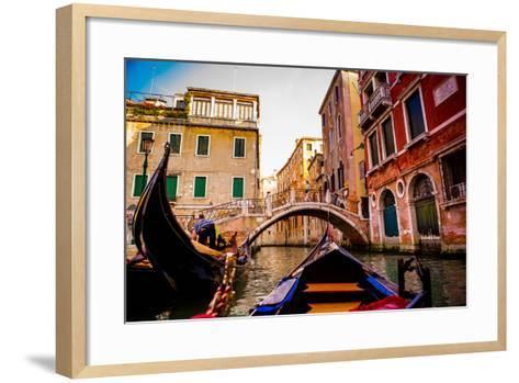 Floating on a Gondola, Venice, UNESCO World Heritage Site, Veneto, Italy, Europe-Laura Grier-Framed Art Print
