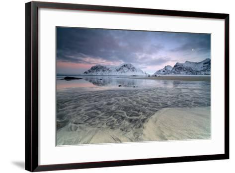 Black Sand and Full Moon as Surreal Scenery at Skagsanden Beach, Flakstad, Nordland County-Roberto Moiola-Framed Art Print