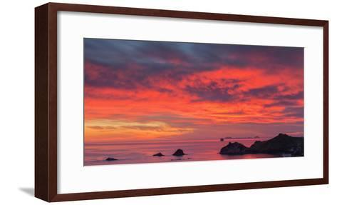 Looking South-East from New Zealand's Coromandel Peninsula to the Alderman Islands at Dawn, Waikato-Garry Ridsdale-Framed Art Print