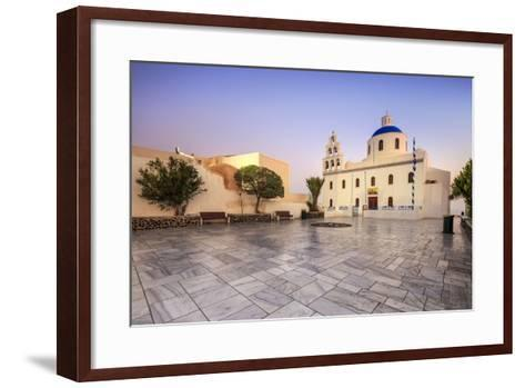 The Holy Orthodox Church of Panagia with the Colors White and Blue the Icons of Greece, Oia-Roberto Moiola-Framed Art Print