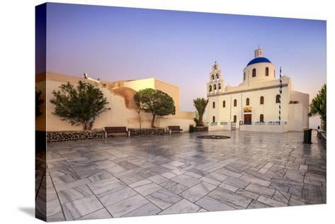 The Holy Orthodox Church of Panagia with the Colors White and Blue the Icons of Greece, Oia-Roberto Moiola-Stretched Canvas Print