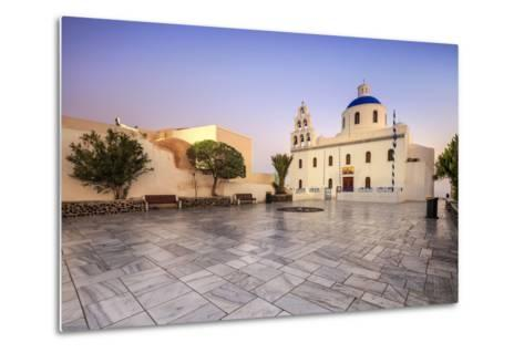 The Holy Orthodox Church of Panagia with the Colors White and Blue the Icons of Greece, Oia-Roberto Moiola-Metal Print