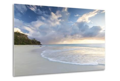 The Sky Turns Pink at Sunset and Reflected on Ffryes Beach, Antigua, Antigua and Barbuda-Roberto Moiola-Metal Print