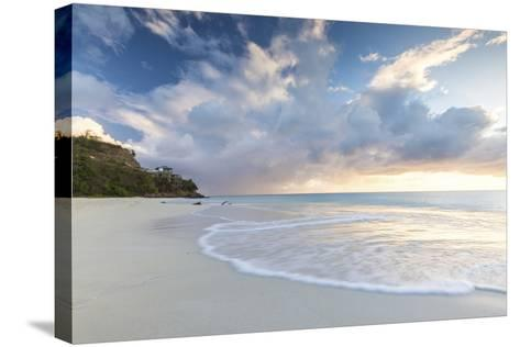 The Sky Turns Pink at Sunset and Reflected on Ffryes Beach, Antigua, Antigua and Barbuda-Roberto Moiola-Stretched Canvas Print