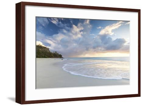 The Sky Turns Pink at Sunset and Reflected on Ffryes Beach, Antigua, Antigua and Barbuda-Roberto Moiola-Framed Art Print