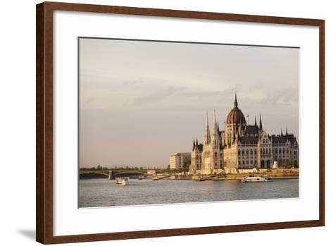 Evening Light on the Hungarian Parliament Building and Danube River, Budapest, Hungary, Europe-Ben Pipe-Framed Art Print
